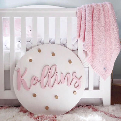 3D Wood Polka Dots Name Sign Nursery Baby Infant Wall Art