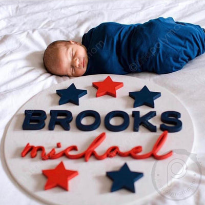 "18"""" Stars Round Custom Wood Name Sign"