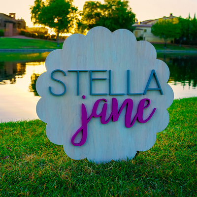 3D Wood Scallop Name Sign Nursery Baby Infant Wall