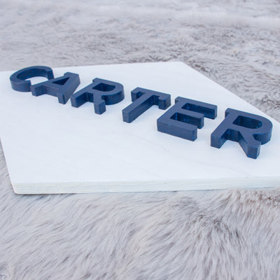 "24"" Large Diamond Custom 3D Name Wood Nursery Sign"