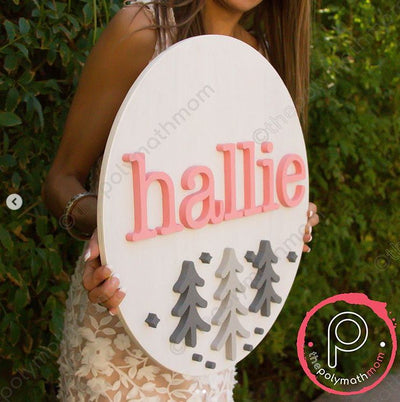 "24"""" Round Landscape PNW Custom Name Wood Sign"