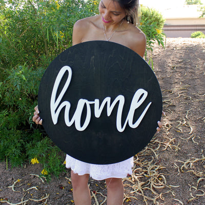 "24"""" Round Home Wood Sign 