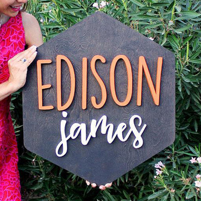 "24"""" Large Hexagon Custom Name Wood Sign"