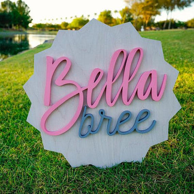 3D Wood Star Ribbon Name Sign Nursery Baby Infant Wall Art