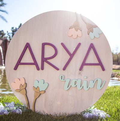 3D Wood Floral Arch Round Name Sign Nursery Baby Infant Wall Art