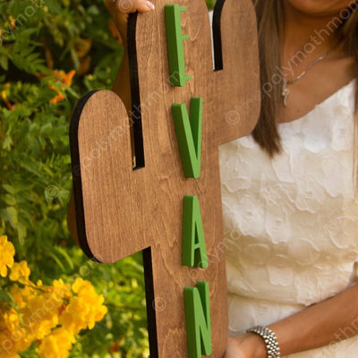 "24"" Large Cactus Custom 3D Name Wood Nursery Sign"