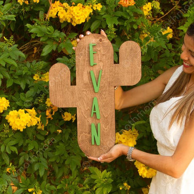 3D Wood Name Sign Nursery Cactus