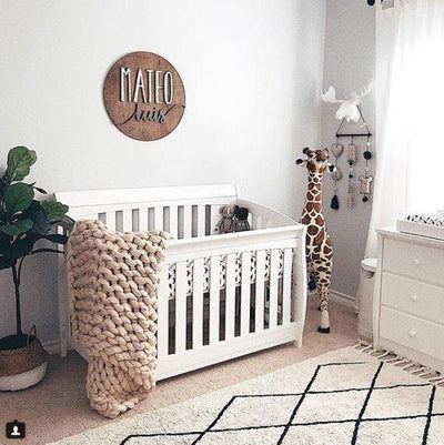 3D Wood  Round Name Sign Nursery Baby Infant Wall Art