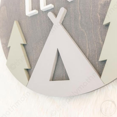 "24"""" Round Modern Tee Pee w/Trees Custom Name Wood Sign"