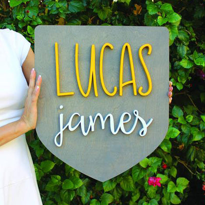 "19"""" x 21"""" Large Badge Custom Name Wood Sign"