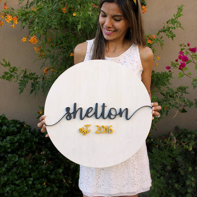 Family Established 3D Wood Round Sign Wedding
