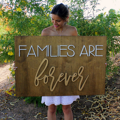 "24"""" x 36"""" Families Are Forever Wood Sign"