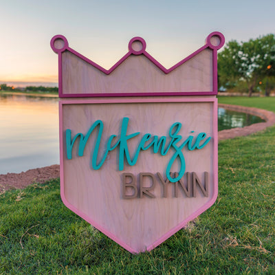 "24"" Custom 3D Name Crown Wood Nuresery Sign 