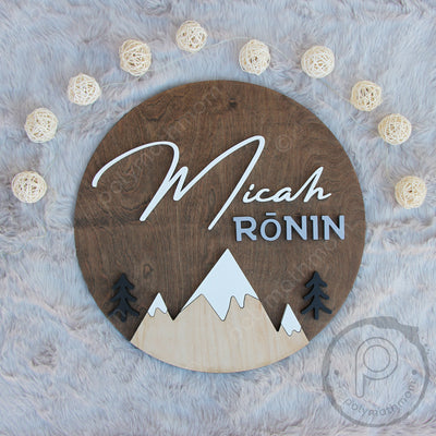 "24"""" Round Mountains Landscape Custom Name Wood Sign"