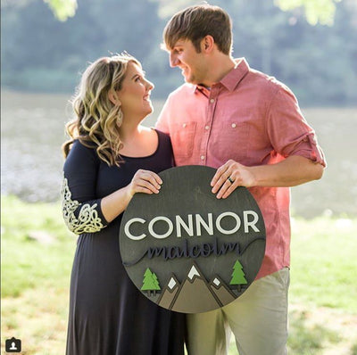 "24"""" Round Landscape PNW with Trees Custom Wood Name Sign"