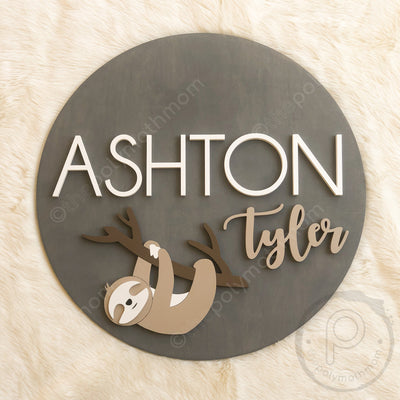 "24"""" Sloth Round Custom Name Wood Sign"