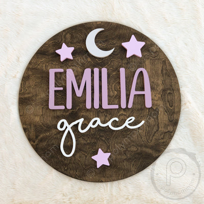 "24""""  Moon and Stars Round Custom Name Wood Sign"