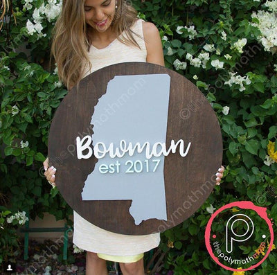 "24"""" Round Custom Last Name with State Wood Sign"