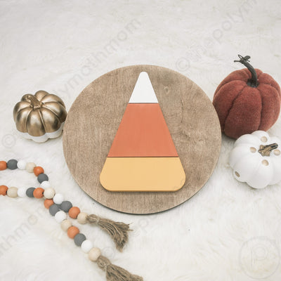"12"""" CANDY CORN Round Wood Sign"