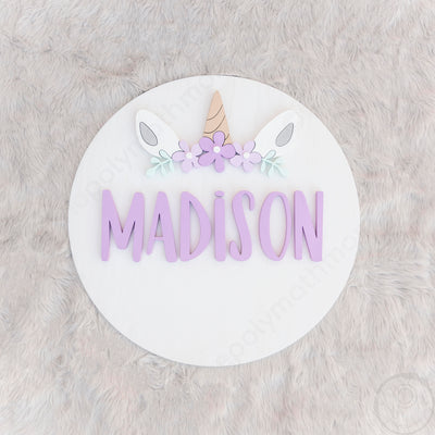 "18"""" Unicorn Floral Round Custom Wood Name Sign"