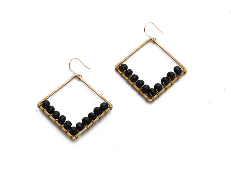 Bopha - Square Beaded Earrings