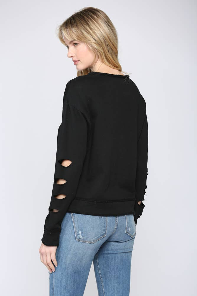 Fate French Terry Distressed Pullover Sweatshirt