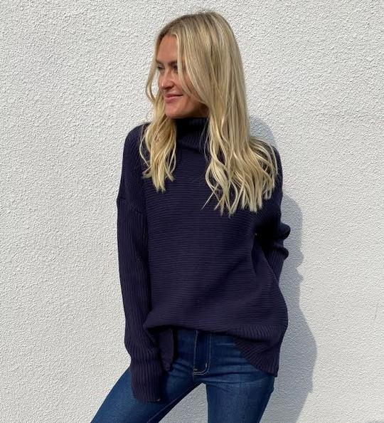 Six Fifty Side Zipper Chunky Turtle Neck Sweater