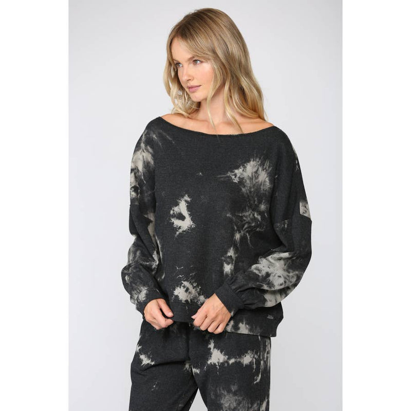FATE TIE DYE THERMAL WAFFLE KNIT TOP