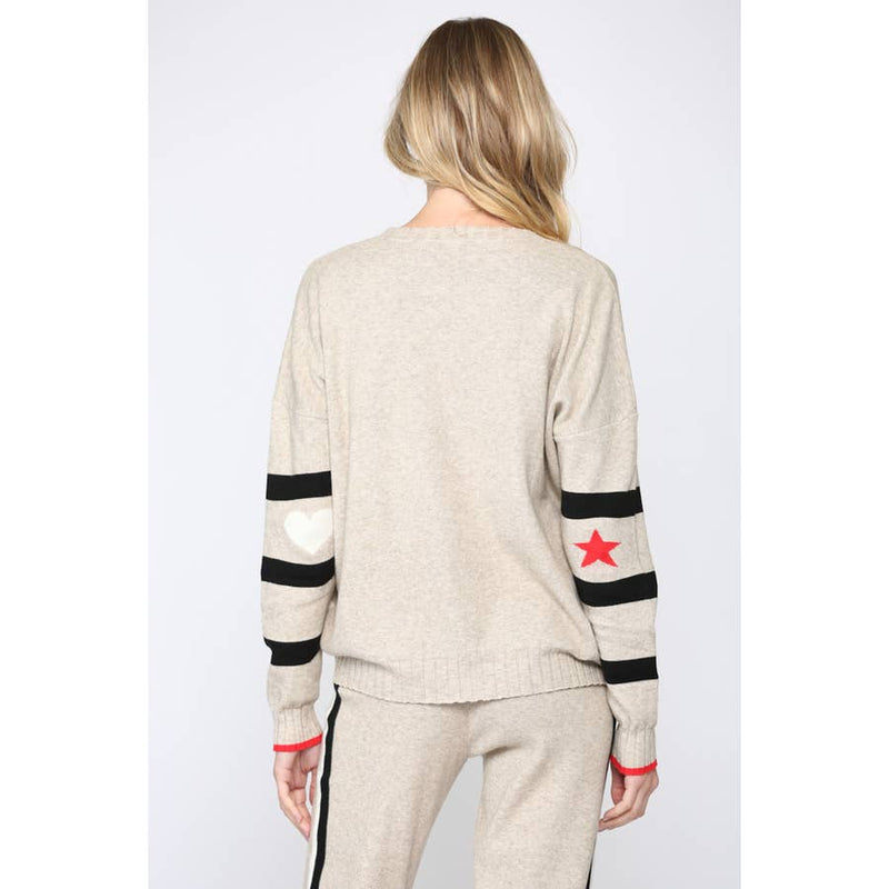 FATE RIBBED NECK STRIPE SWEATER WITH ELBOW STARS