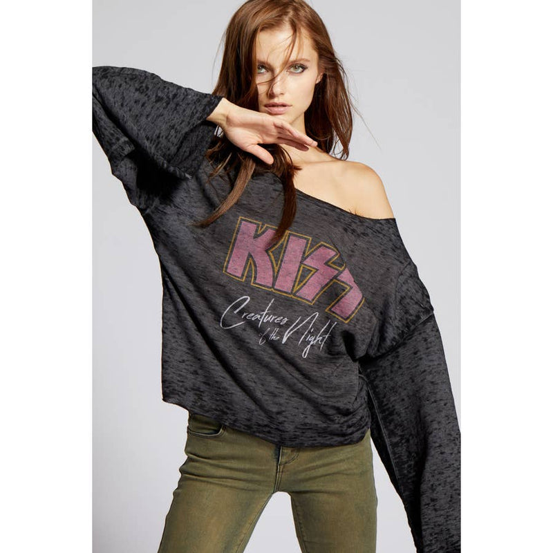 Recycled Karma Kiss Creatures Of The Night Bell Sleeve Sweatshirt