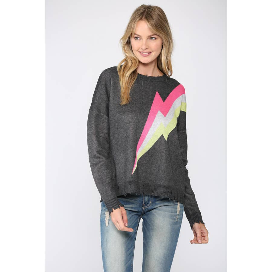 FATE LIGHTNING BOTL DISTRESSED SWEATER