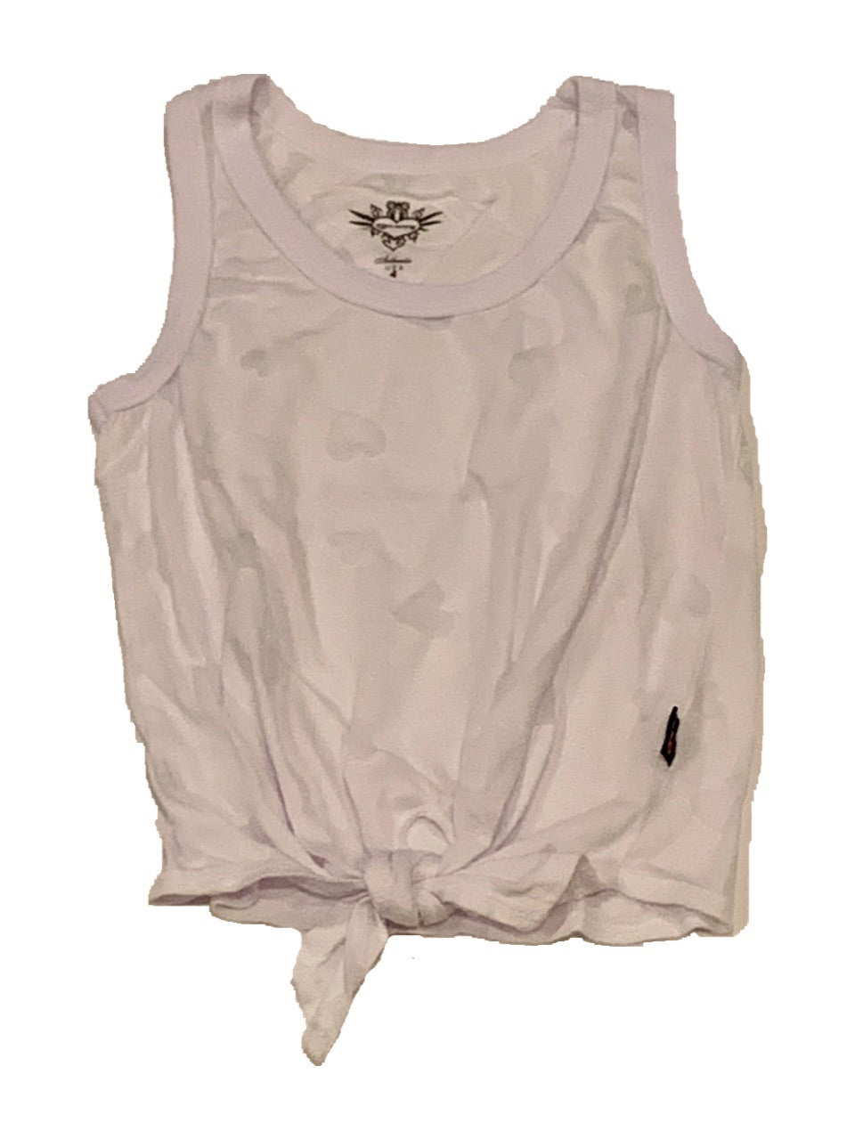 T2Love Burnout White Tie Front Racer Tank with Hearts