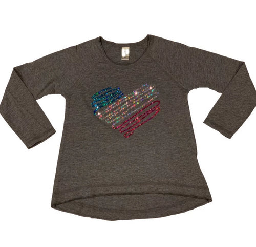 LHB SEQUIN SWIRL HEART L/S TEE - HEATHER GREY