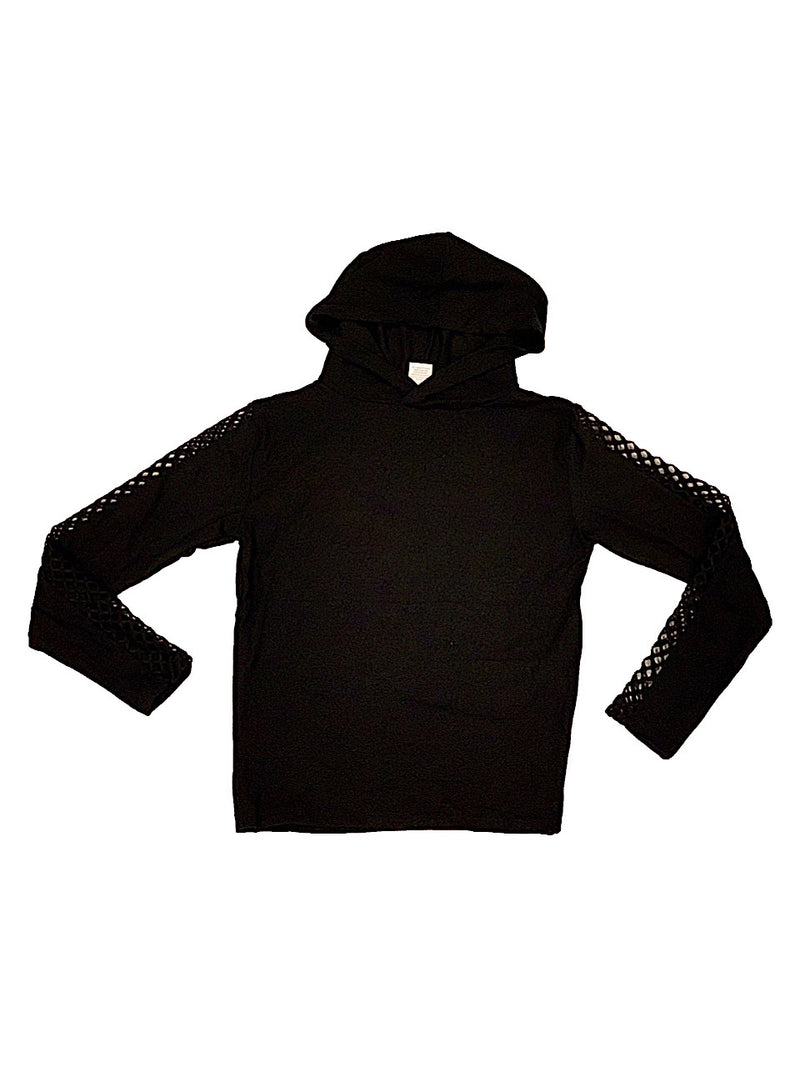 Suzette Black Hoodie With Fishnet Mesh on Sleeves