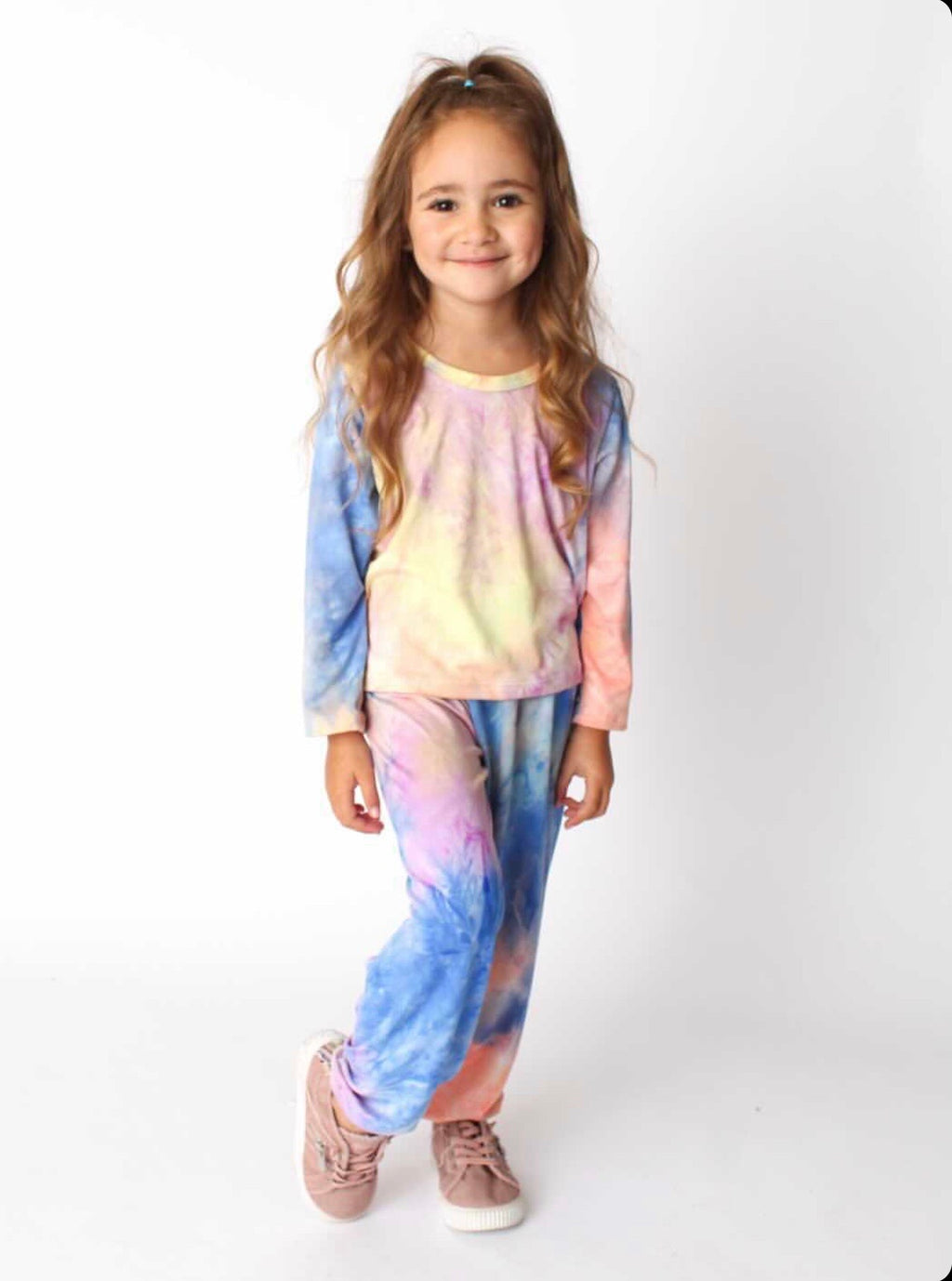 Dori Super Soft Cropped Blue Sunset Tie Dye Top