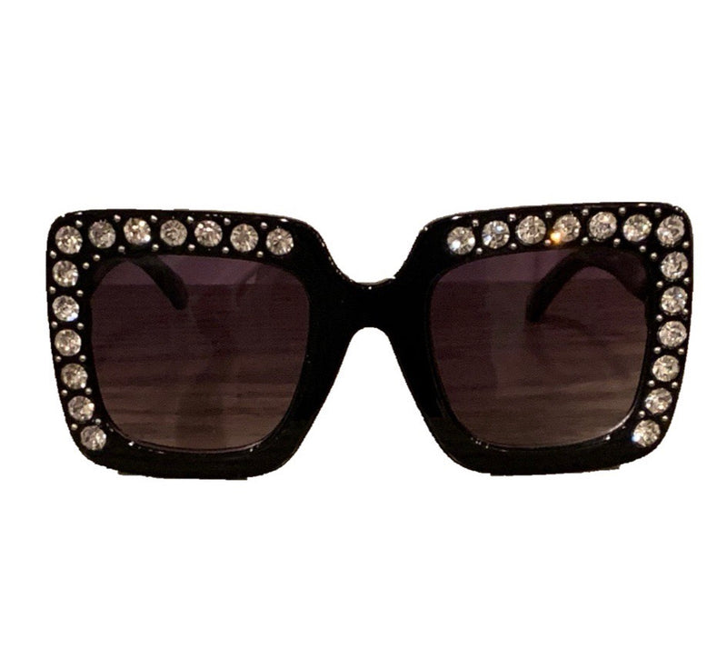 Black Square Sunglasses With Crystals