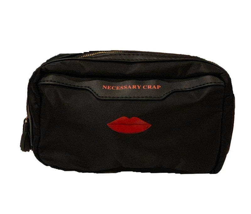 "NECESSARY CRAP"" ZIP TOP COSMETIC POUCH"