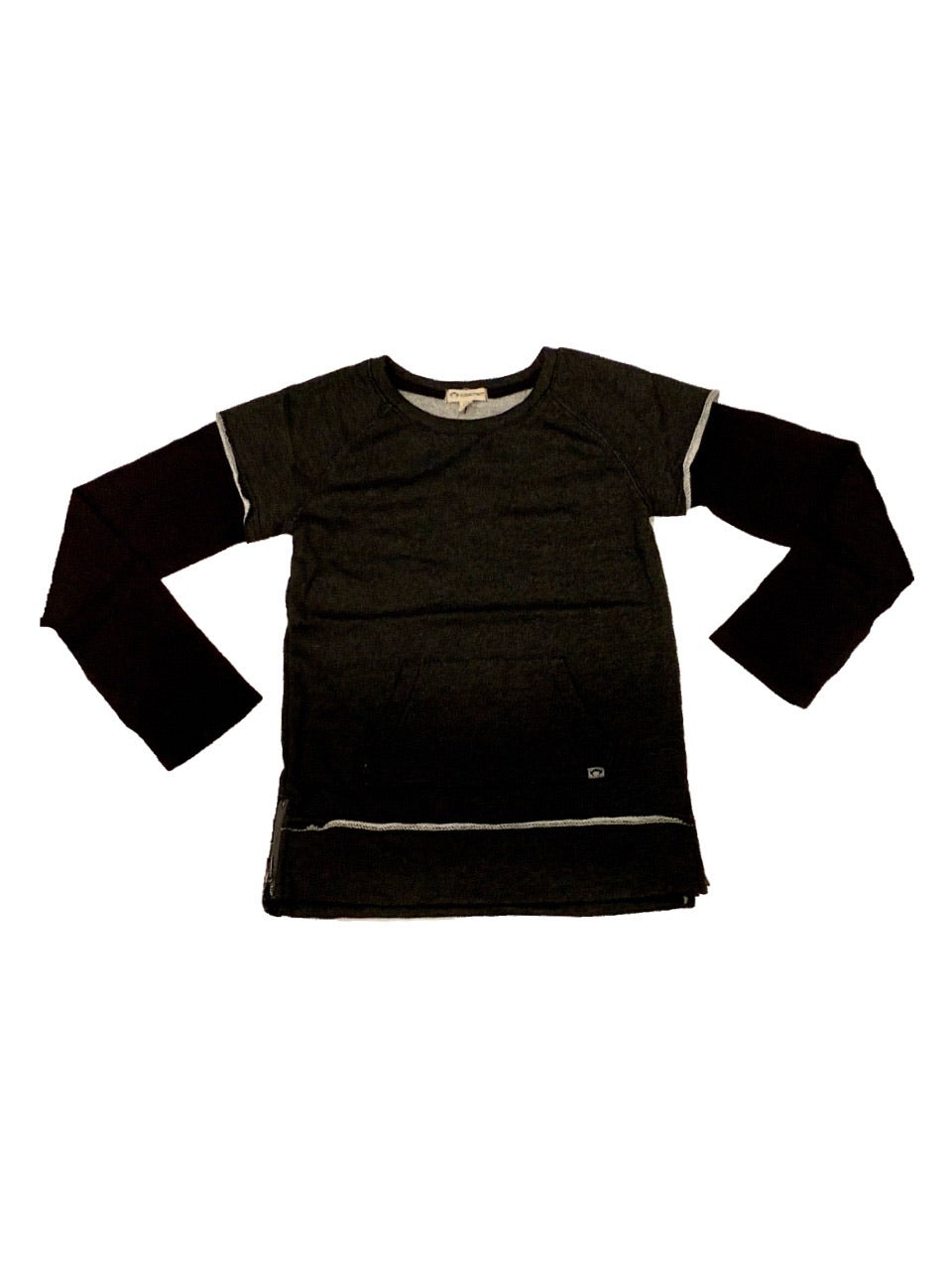 APPAMAN FREESTYLE LONG SLEEVE TOP IN CHARCOAL HEATHER