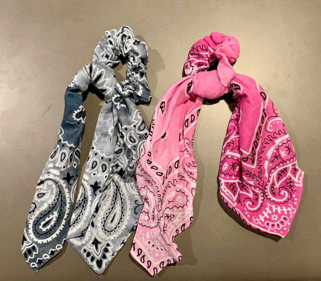 Crystallized Bandana Scrunchies