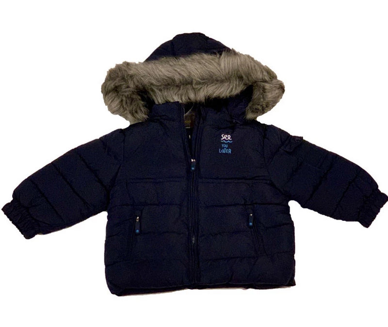 BABY BOY JACKET WITH FAUX TRIM HOOD