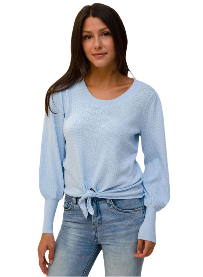 Design History Women Long Sleeve Ballet Blue Sweater