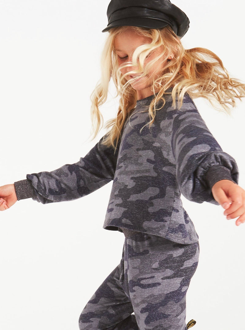 Z Supply Girls Mayori Camo Marled Long Sleeve