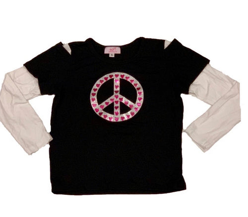 SOFI Black and White Shirt With Peace Sign