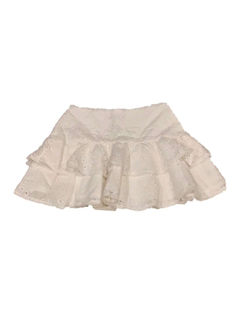 KatieJ White Tiered Eyelet Skirt