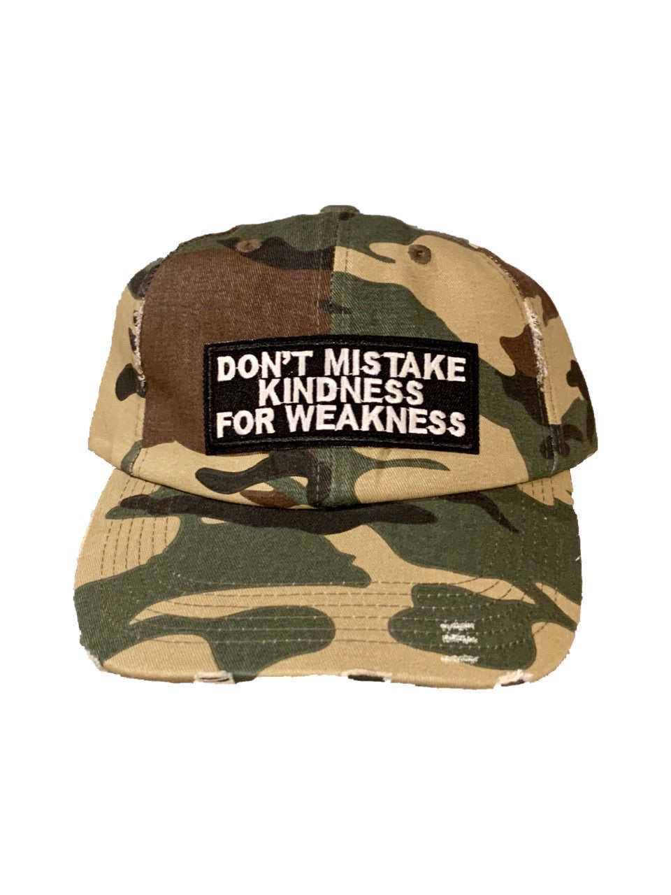 Don't Mistake Camo Distressed Hat