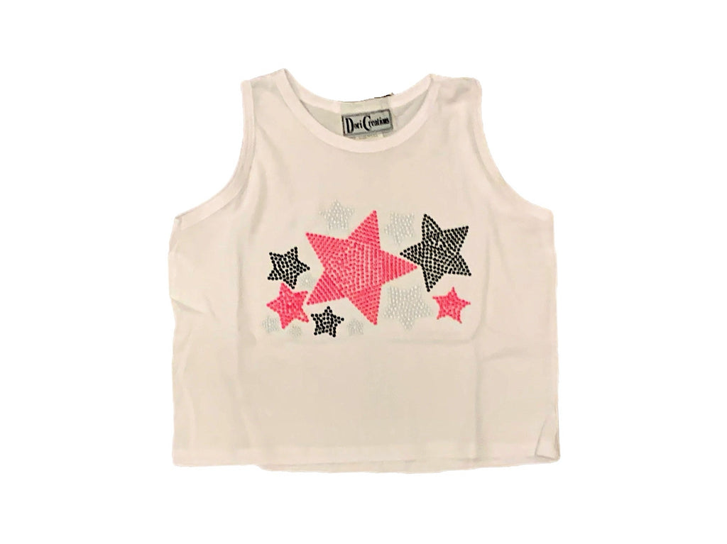 Dori White Cropped Tank With Neon Pink Scattered Stars