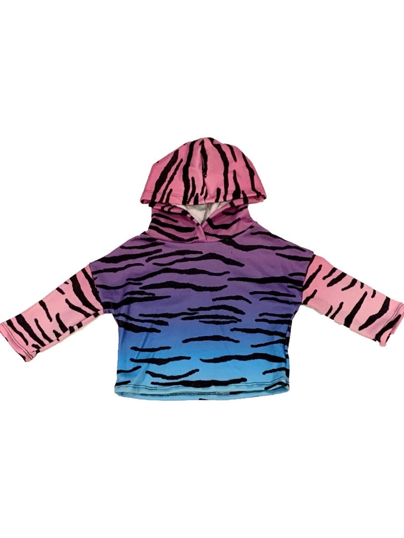 Social Butterfly Ombre Tiger 3/4 Sleeve Cropped Hoodie