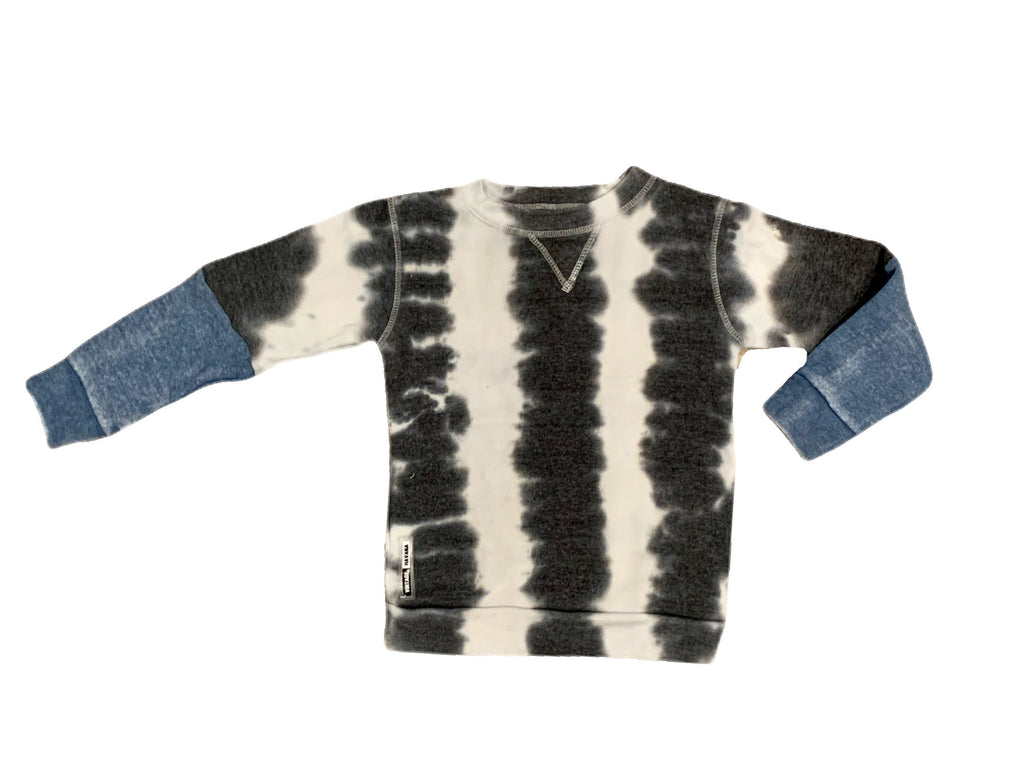 Vintage Havana Boys Black and White Tie Dye Colorblock Crew