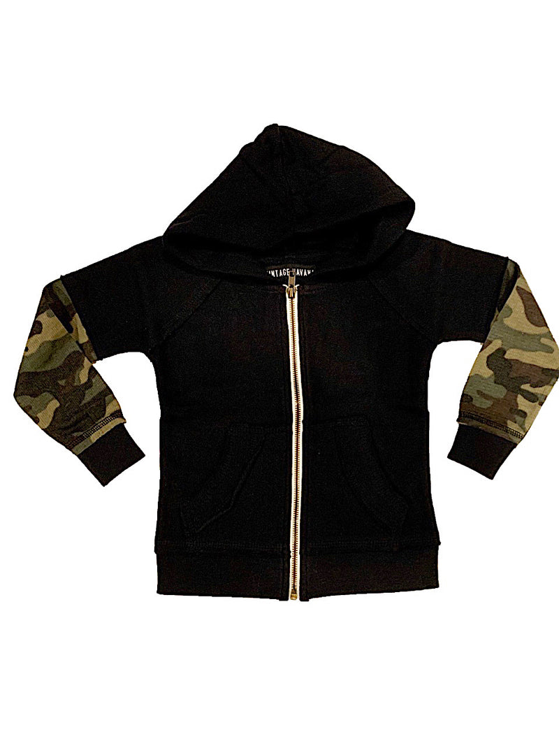 Vintage Havana Boys Black Zip Up Hoodie With Green Camo Sleeves