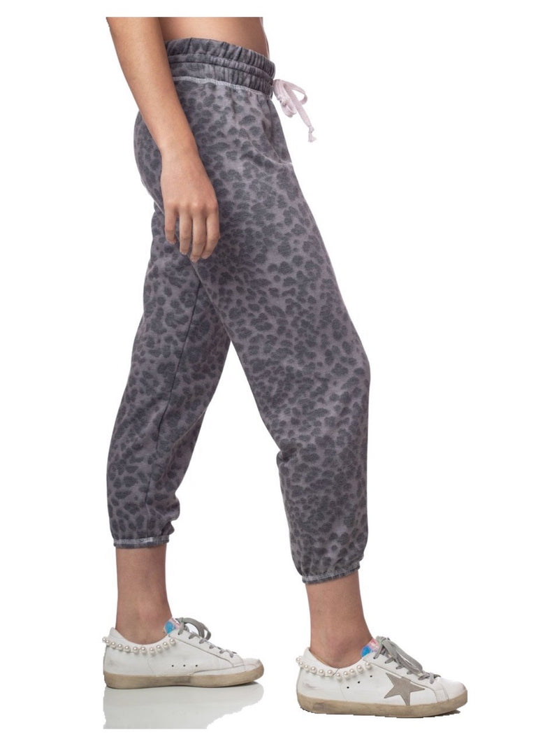 Emily Hsu Silver Leopard Cropped Jogger